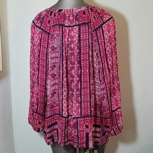 LUCKY BRAND RED PEASANT TOP L LARGE